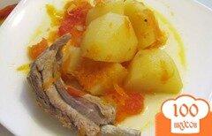 Фото рецепта: «Тушеный картофель со свиными ребрышками»