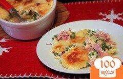 Фото рецепта: «Запеканка из картофеля, зеленого горошка и ветчины»