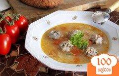 Фото рецепта: «Суп с рисом и ароматными фрикадельками»