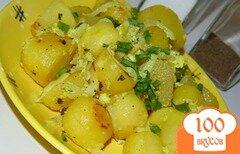 Фото рецепта: «Картофель запеченный со сметаной и луком в рукаве»
