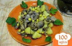 Фото рецепта: «Грибы с картофелем и кукурузой»