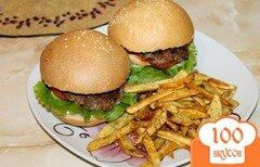Фото рецепта: «Домашний гамбургер с котлетой и картошкой фри»