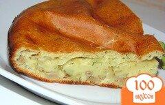 Фото рецепта: «Заливной пирог на кефире с вешенками»