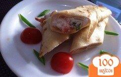 Фото рецепта: «Блинчики на закуску с копченым лососем»