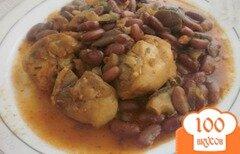 Фото рецепта: «Курица тушеная с вешенками и фасолью»