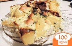 Фото рецепта: «Картофельная запеканка с курицей под сметанным соусом»