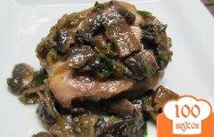 Фото рецепта: «Курица с грибами в кульках из фольги»