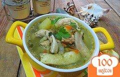 Фото рецепта: «Суп из животиков сёмги со шпинатом и черемшой»