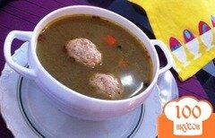 Фото рецепта: «Суп с фрикадельками,шпинатом и макаронами»
