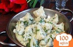 Фото рецепта: «Цветная капуста с чесноком и зеленью»