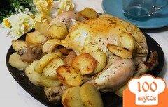 Фото рецепта: «Курица запеченная с айвой и картофелем»