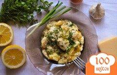 Фото рецепта: «Картофель с курицей и сулугуни в казане»