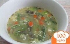 Фото рецепта: «Суп на курином бульоне с овощами и грибами»