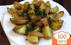 Фото рецепта: «Молодой картофель с салом в духовке»