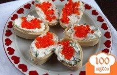 Фото рецепта: «Тарталетки с красной икрой и творогом»