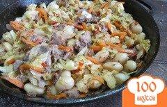 Фото рецепта: «Капуста с фасолью и домашними колбасками»