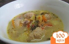 Фото рецепта: «Суп с фрикадельки и щавелем»