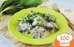 Фото рецепта: «Свиная печень с грибами в сметане»