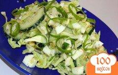 Фото рецепта: «Салат из молодой капусты с огурцом»