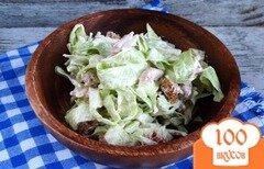 Фото рецепта: «Салат с копченой курицей и молодой капустой»