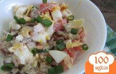 Фото рецепта: «Салат из отварной говядины с помидором»