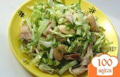 Фото рецепта: «Салат из молодой капусты с мясом курицы и фасолью»