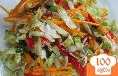 Фото рецепта: «Салат из молодой капусты с тыквой и перцем»