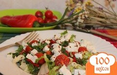 Фото рецепта: «Салат с овощами, брынзой и семенами льна»