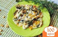 Фото рецепта: «Омлет со стрючковой фасолью и кукурузой»