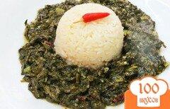 Фото рецепта: «Шпинат со щавелем и рисом»