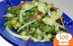 Фото рецепта: «Картофельный салат с щавелем и бастурмой»