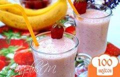 Фото рецепта: «Молочный коктейль с клубникой и бананами»