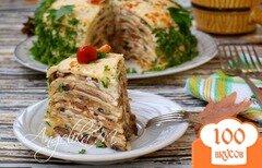 Фото рецепта: «Блинный торт с грибами»
