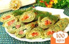 Фото рецепта: «Блинчики с шпинатом и начинкой из сёмги и икры»