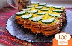 Фото рецепта: «Закуска из лукового крекера, сыра и огурца»