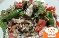 Фото рецепта: «Салат из мяса с грибами и щавелем»