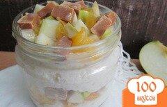 Фото рецепта: «Десерт из рисового пудинга с фруктами»
