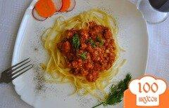 Фото рецепта: «Лапша с мясным томатным соусом»
