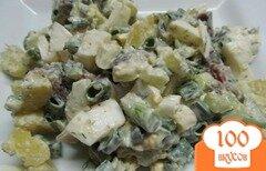 Фото рецепта: «Салат из копченой рыбы с картофелем и огурцом»