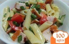 Фото рецепта: «Салат с макаронами и копченой куриной грудинкой»
