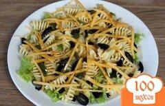 Фото рецепта: «Паста с листьями, оливками и сыром»
