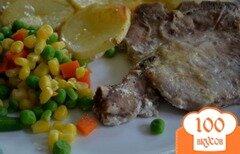 Фото рецепта: «Тушеные свиные отбивные с овощами на молоке»