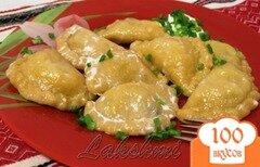 Фото рецепта: «Паровые вареники из постного тыквенного теста с начинкой из грибов и картофеля.»