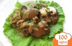 Фото рецепта: «Куриная печень с грибами в сметане»