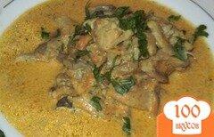 Фото рецепта: «Курица тушеная с овощами и грибами»