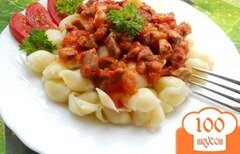 Фото рецепта: «Паста с соусом из куриных желудочков»