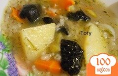 Фото рецепта: «Рисовый суп с маслятами»