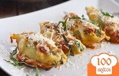 Фото рецепта: «Ракушки, фаршированные шпинатом и сыром»