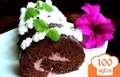 Фото рецепта: «Шоколадный рулет с черничным муссом.»
