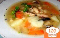 Фото рецепта: «Суп из белой фасоли с рыбными консервами»